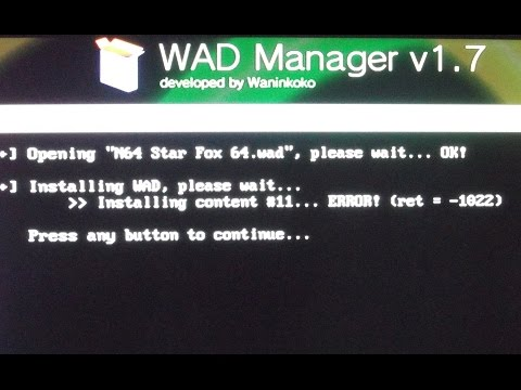 ERROR  -1022 wad Star Fox 64 Nintendo Wii