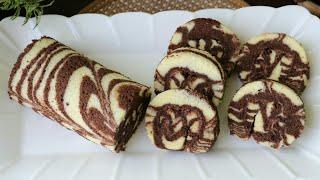 মাএ ১৫ মিনিটে তৈরি চকলেট জেব্রা সুইস রোল কেক/Swiss Roll Cake/Chocolate Zebra Swiss Roll Cake Recipe.