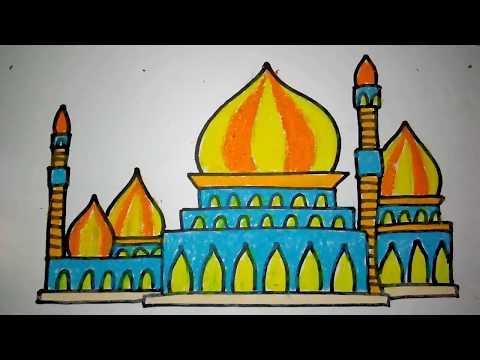 Photokabalfalah Mewarnai Gambar Masjid Dengan Crayon