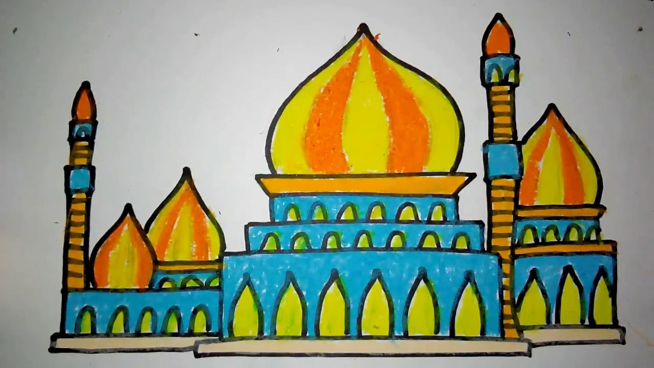 Cara Menggambar Masjid Baru 3 Untuk Anak SD