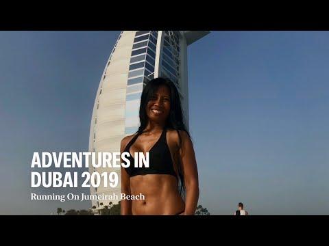Slow Motion Run across from the LUXURIOUS 7 STAR HOTEL BURJ AL ARAB at PRIVATE JUMEIRAH BEACH