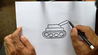 How to draw a tank Hand drawing picture Color pencil drawing a tank cartoon