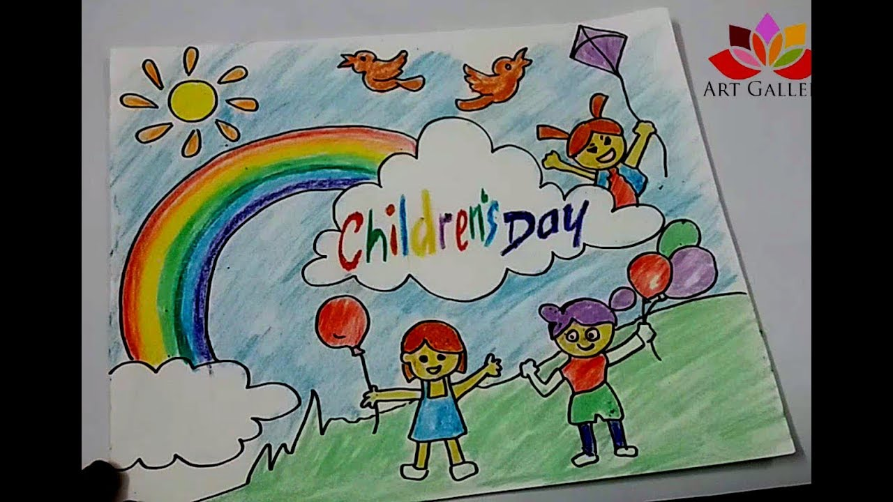 How To Draw Children Day Easy Drawing Youtube