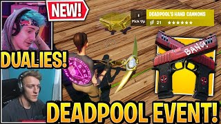 """Streamers React to *NEW* """"MYTHIC DEADPOOL DUAL PISTOLS"""" Weapon in Fortnite Event"""