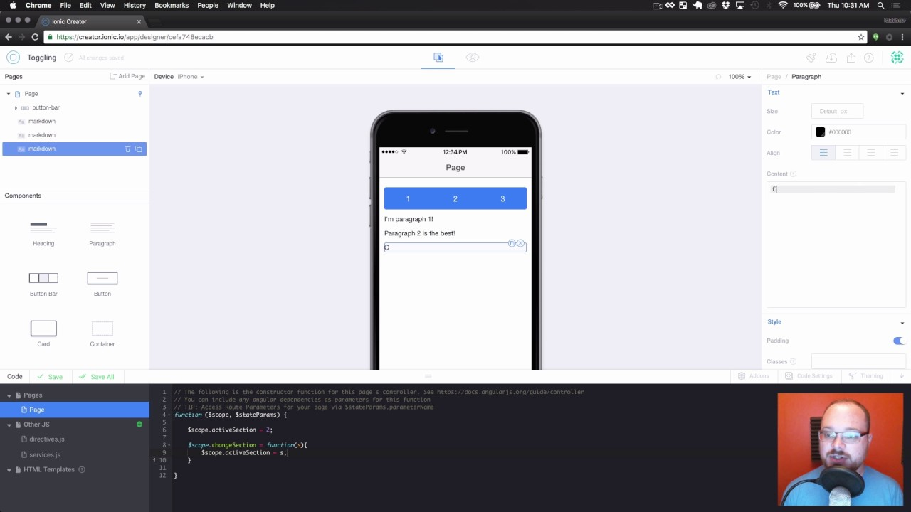 Ionic Creator Tutorials // Toggling Content with Button Bars