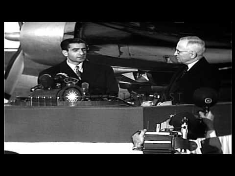 President Harry S. Truman welcomes Mohammad Reza Shah Pahlavi, Shah of Iran and b...HD Stock Footage