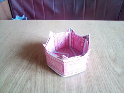 Оригами. Коробочка из игральных карт.Origami.Box Of Playing Cards.