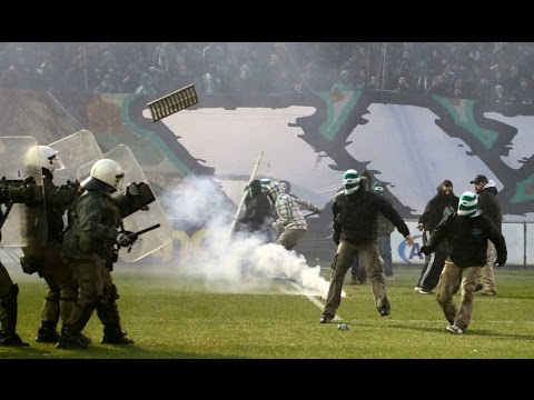 Greece hooligans against Police. Riots before the match Panathinaikos - Olympiakos Gate 13 in action
