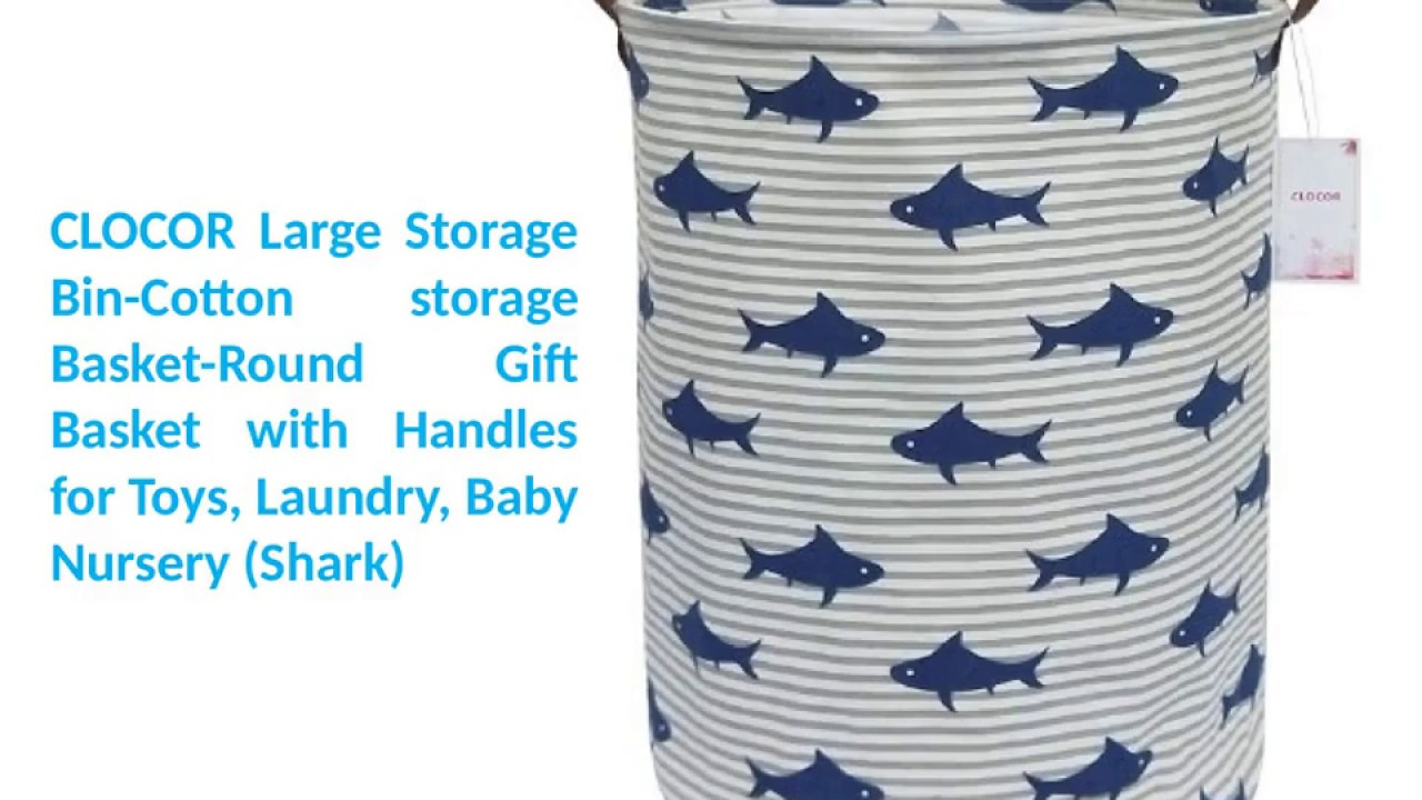 """Large Storage Bin-Cotton Basket-Round Gift With Handles For Toys,Laundry,Baby /"""""""