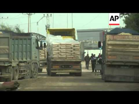 Israel allowed trucks to bring construction materials into the Gaza Strip on Tuesday, as part of the
