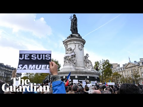 Thousands gather in Paris in memory of murdered teacher Samuel Paty