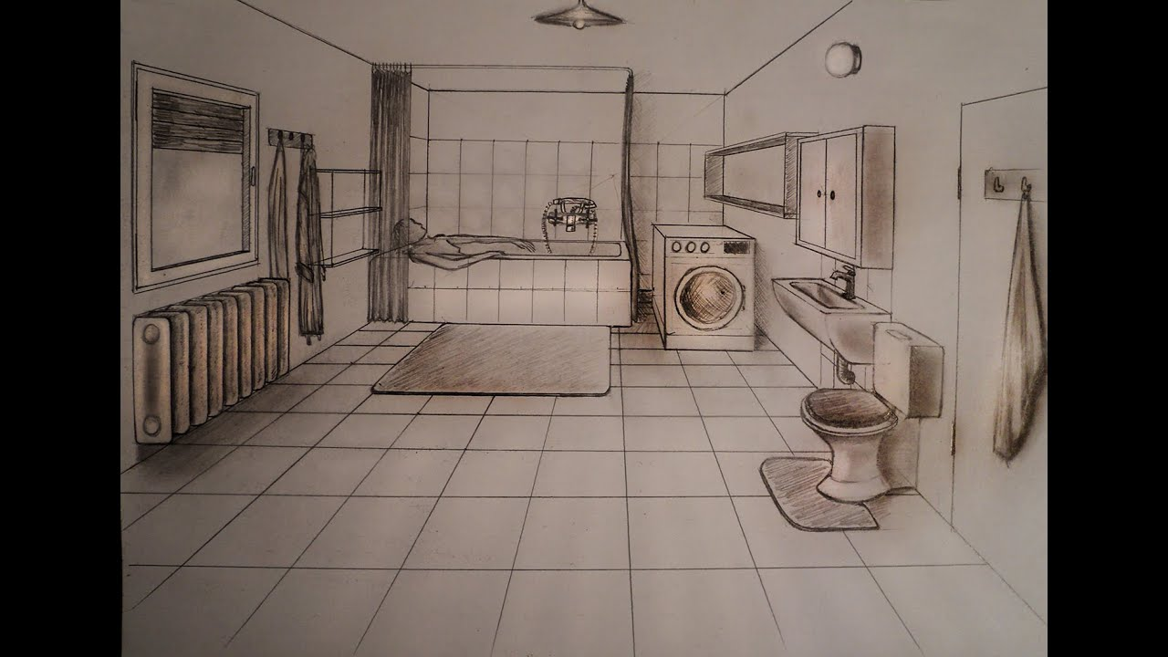 How to draw - One point perspective - bathroom - YouTube