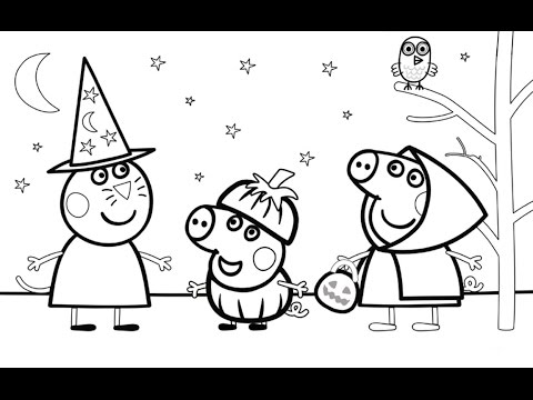 Peppa Pig and Friends Halloween Party Coloring Book Pages Video For Kids YouTube