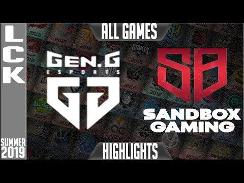 GEN vs SB Highlights ALL GAMES  LCK Summer 2019 Week 4 Day 1  GenG vs Sandbox Gaming