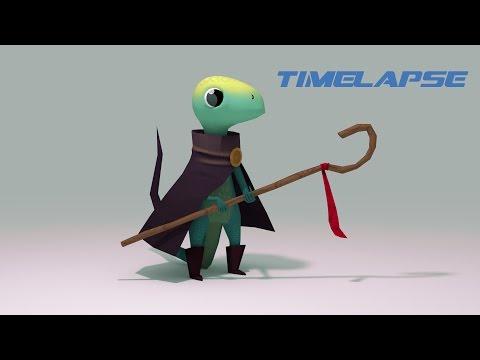 Lizard Mage: Modelling, Textureing, Rigging (Blender Timelapse)