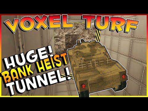 Voxel Turf Game - HUGE BANK HEIST TUNNEL! DIGGING UNDER THE CITY! - Voxel Turf Multiplayer Gameplay