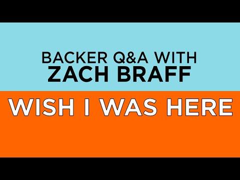 WISH I WAS HERE -- Zach Braff Live Backer Q&A -- Thurs. 7/17 @ 4:30 PM EDT