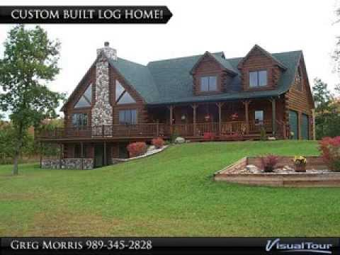 home for sale custom built log home on 20 acres plus private pond in northern michigan youtube