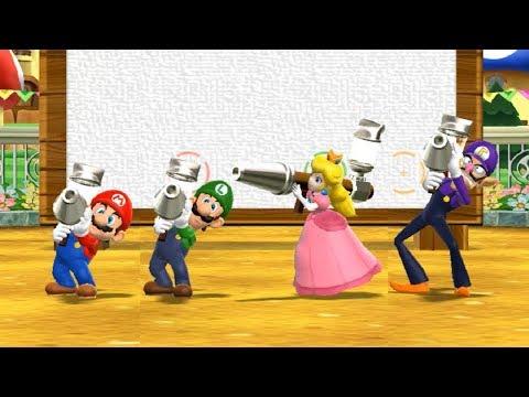 Mario Party 9 Garden Battle - Mario vs Luigi vs Peach vs Waluigi| Cartoons Mee