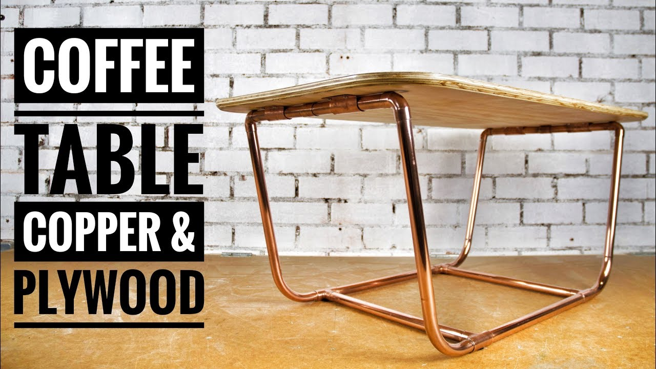 diy coffee table with copper pipe legs plywood top