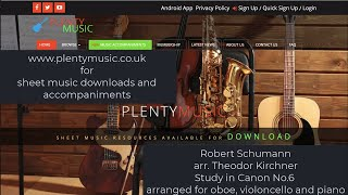 Schumann R.arr. Kirchner T.  | Study in Canon No 6 arr. oboe, violoncello and piano