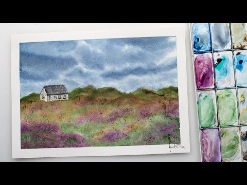 Watercolor LANDSCAPE simple painting – house in flowers and dramatic sky