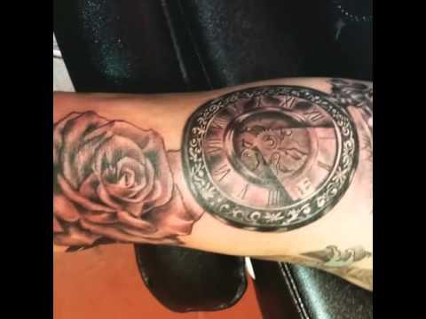 Tatuaje Rosa Reloj Y Ojo By Baes Tattoo