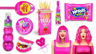 EATING ONLY PINK FOOD FOR 24 HOURS || One Color Food Challenge by RATATA COOL!