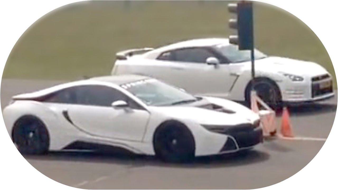 Drag Race Bmw I8 Vs Nissan Gtr Youtube