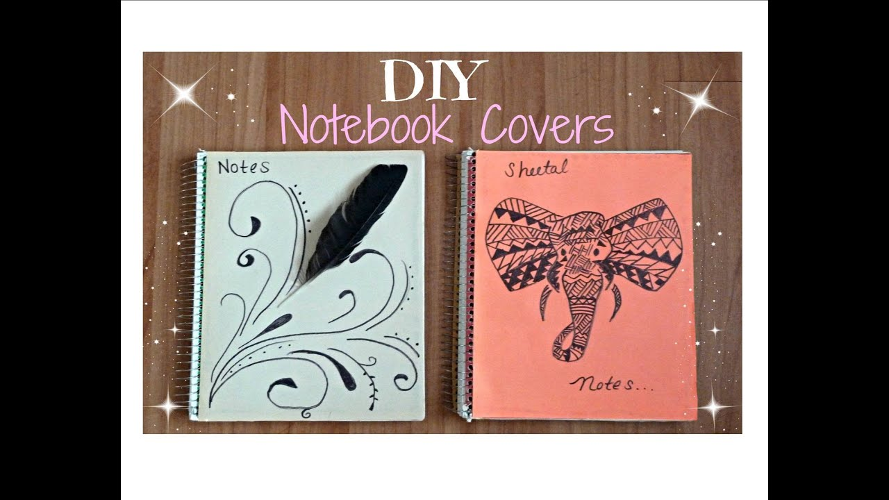 Diy glitter notebook cover -  Diy Back To School Notebooks Tumblr Inspired Feathers Tribal Elephants Youtube