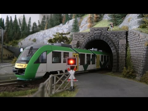 Model Railway Layout with High Speed Trains in HO scale