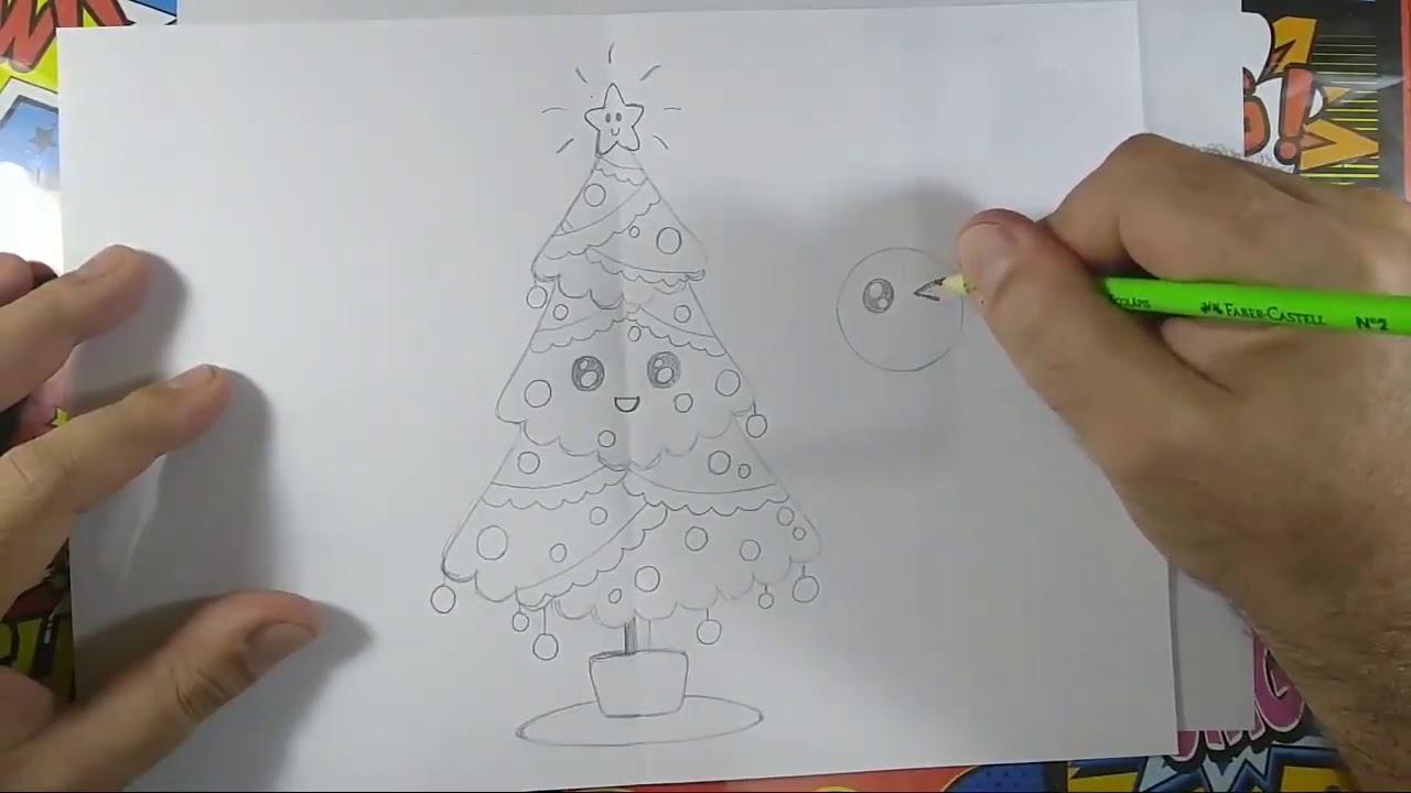 Arte E Cia Brasil Como Desenhar árvore De Natal Kawaii Passo A Passo
