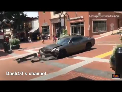 Dodge Challenger RUNS OVER counter protesters in white nationalists protest (Aug 12, 2017)