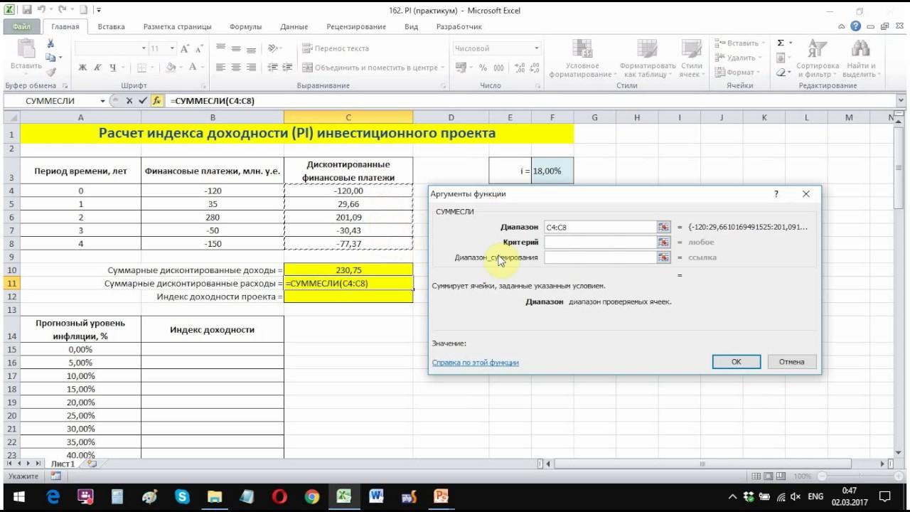 Финансовая математика, часть 21. Как найти индекс доходности в Excel  (практикум)