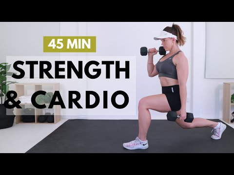 45 MIN STRENGTH & CARDIO BURNOUT - Full Body HIIT with Weights🔥Burn 350 Calories🔥