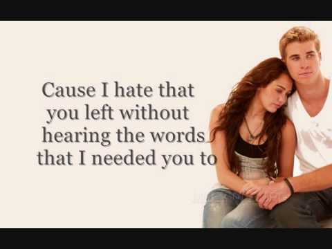 I Hope You Find It  Miley Cyrus  The Last Song FULL WLyrics