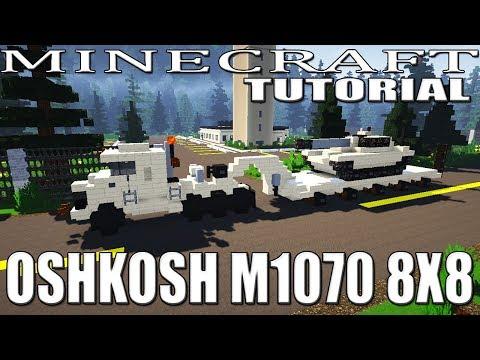 Minecraft : Military Tank Transporter Tractor Unit Tutorial (Oshkosh M1070 8X8)
