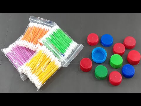 Best out of waste plastic bottles caps decorating with cotton buds   Diy Wall decorating idea