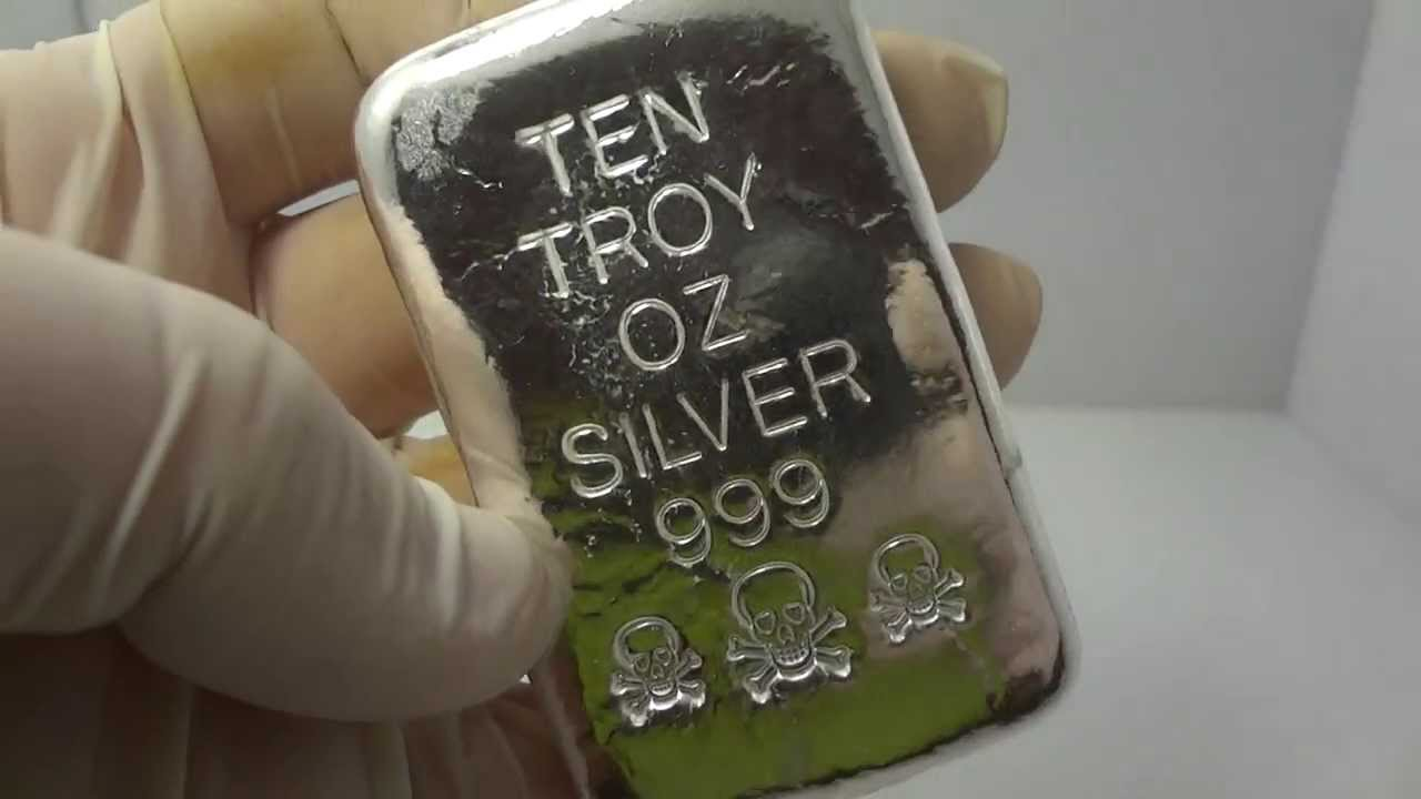 10 Troy Oz Silver Hand Poured Bullion Bar 999 Fine By