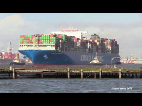 Container Ship 'Cosco Shipping Himalayas' Southampton departure for Piraeus  15/02/18