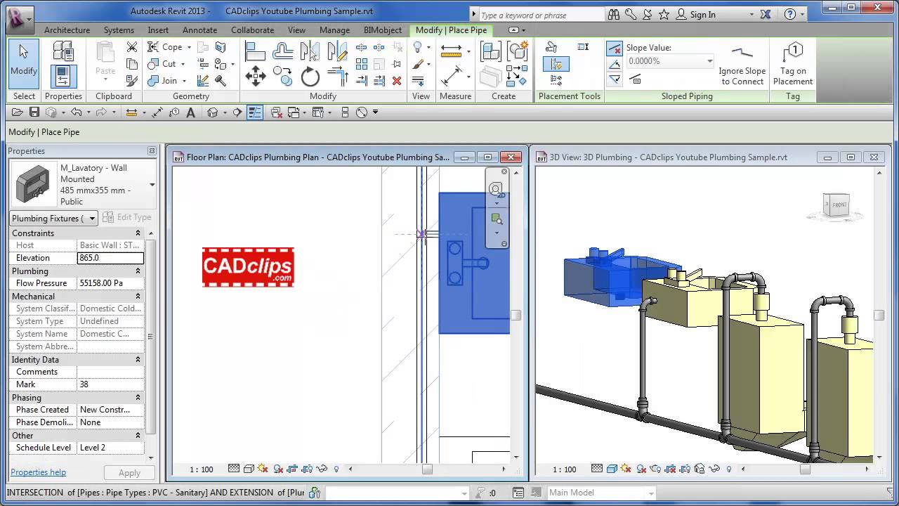 REVIT MEP Hot and Cold Water Plumbing - CADclips