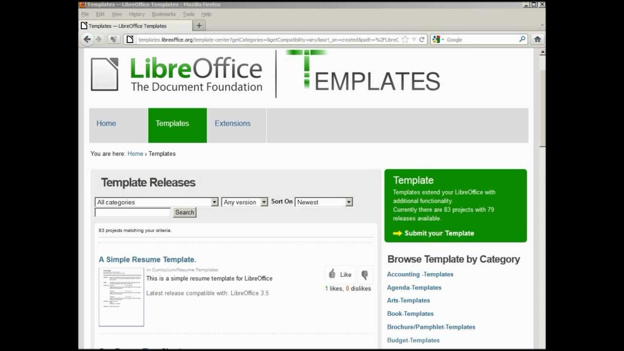 LibreofficeWriter  Adding An OnLine Template  Youtube
