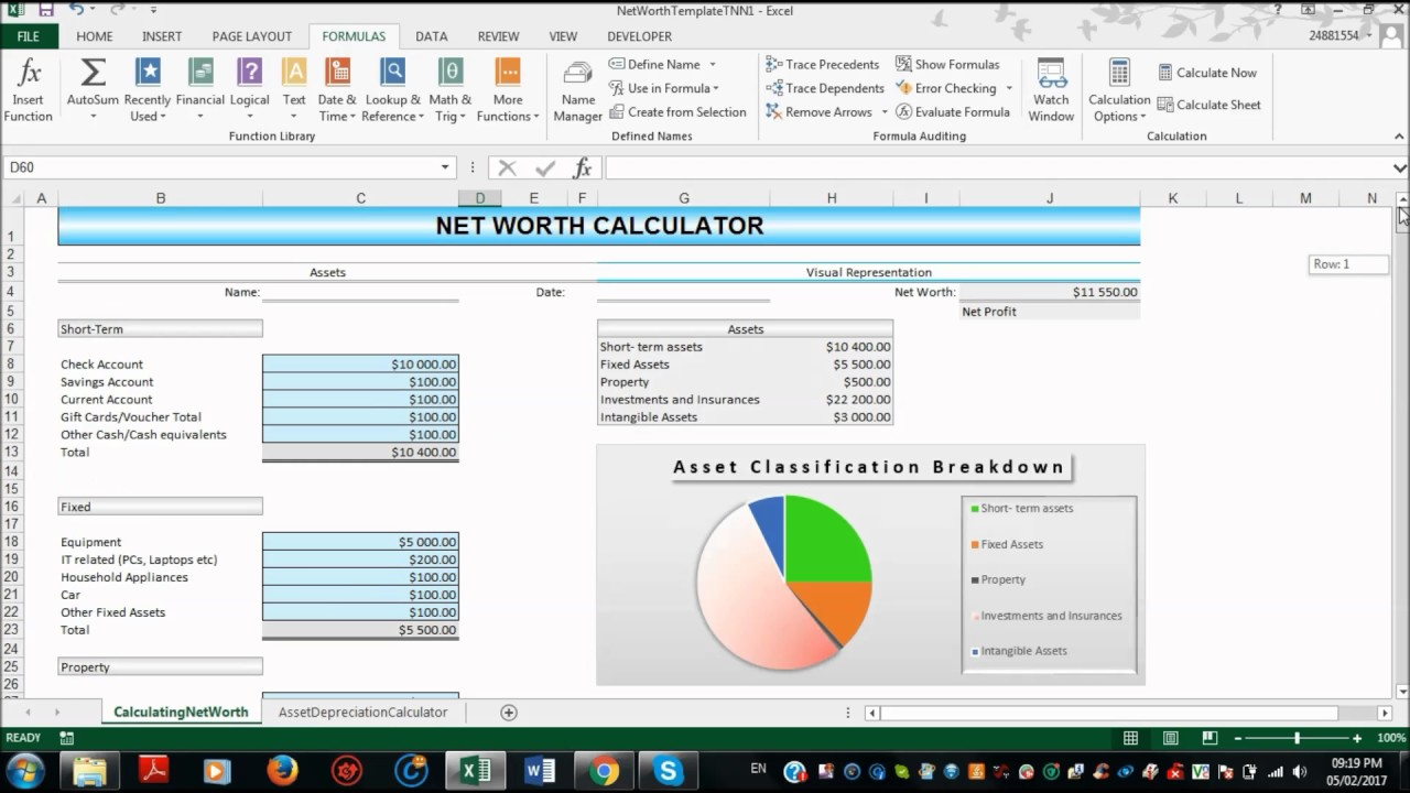 net worth spreadsheet free