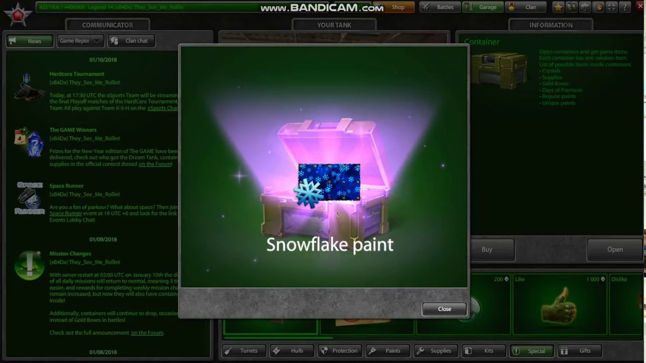 Tanki Online openning 3 containers snowflake paint for free!! - YouTube