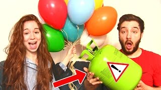 HELIUM BALLON CHALLENGE en COUPLE ! PIMENT & VOMI = DANGER !