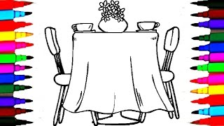 Coloring Pages Dining Room l Furniture Drawing Pages To Color For Kids l Learn Rainbow Colors