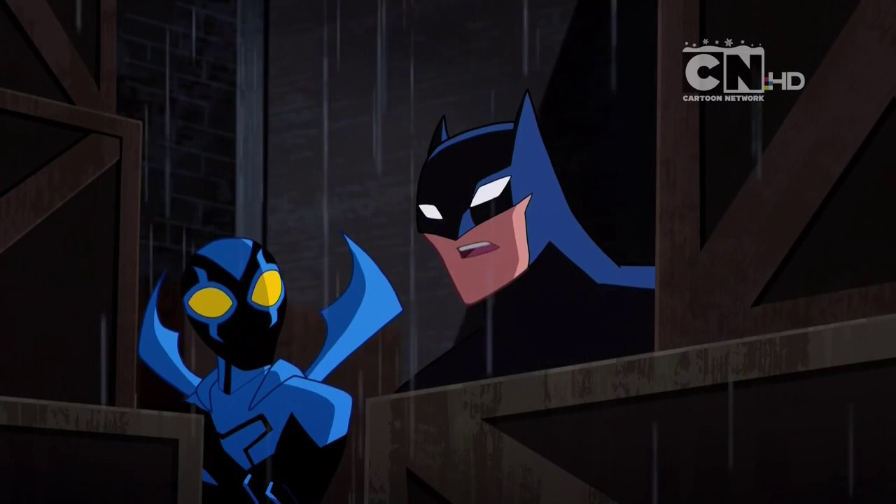 Blue Beetle from JLA Makes Fun Of Batman from B:TAS (Justice League Action)