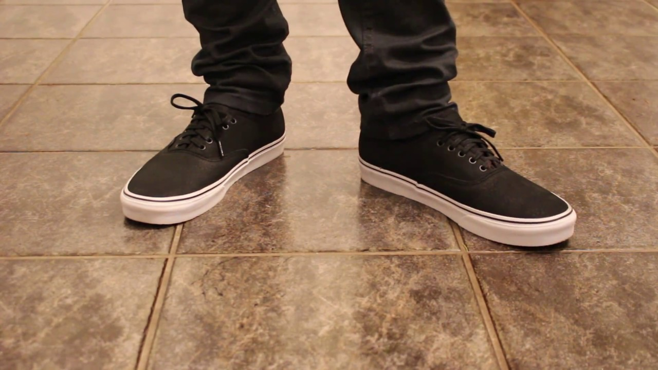 65d50cd11f Vans Premium Leather Authentic ON FEET - YouTube
