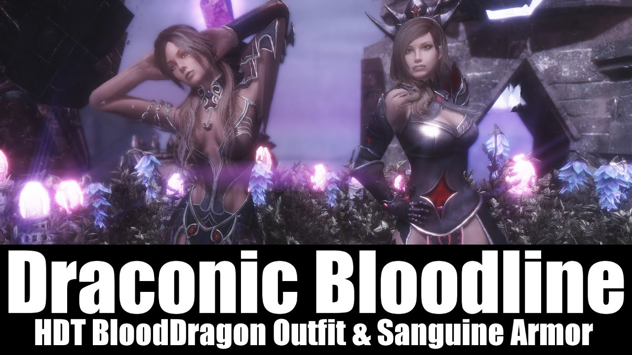 Skyrim Mods - Draconic Bloodline 'HDT BloodDragon Outfit & Sanguine Armor'  [4k/HD] by FeuerTin
