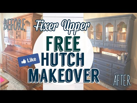 Fixer Upper Inspired Free Hutch Makeover using DIY Chalk Paint| Painted Furniture DIY